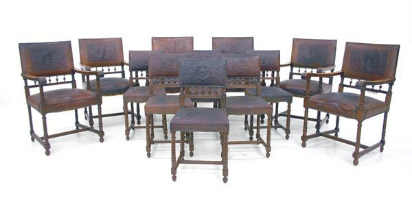 35: Twelve English Walnut Edwardian Dining Chairs