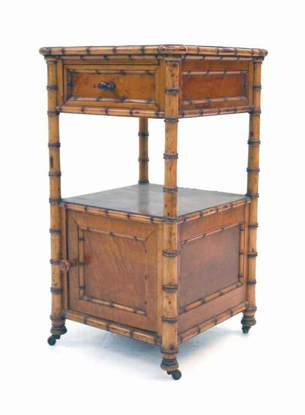 48: Victorian Faux Bamboo Night Stand. Attr. RJ Horner