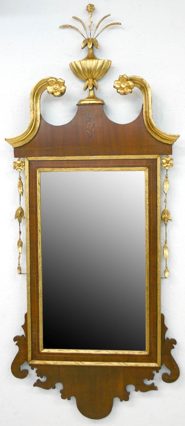 132A: American Federal Inlaid Looking Glass. Circa 1820