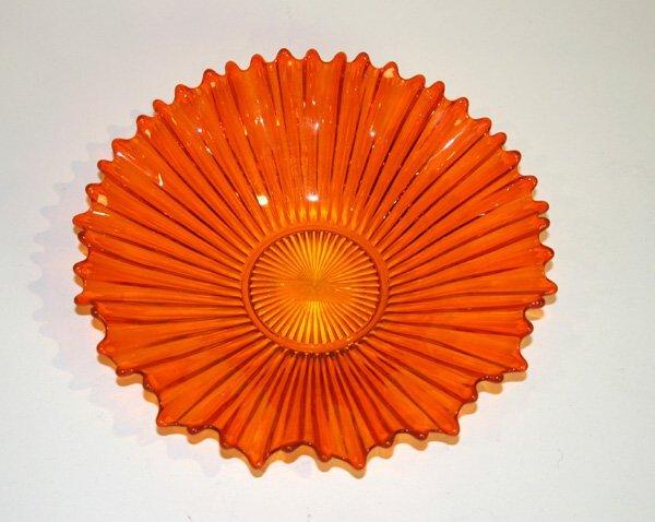1003: Orange Art Glass Bowl. Good Condition