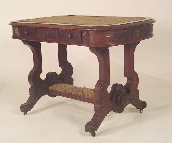 1007: Victorian Walnut Library Table. Circa 1870