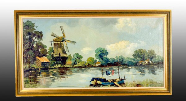 """1008: Oil Painting, """"Canal with Windmill"""""""