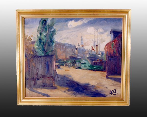 """1009: Oil Painting, """"Ships at the Dock"""""""