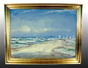 """Oil Painting, """"Beach with Seagulls"""""""