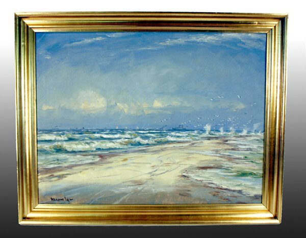 """1019: Oil Painting, """"Beach with Seagulls"""""""
