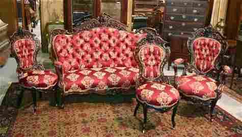 1062: J & JW Meeks Laminated Rosewood Parlor Suite