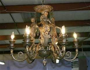 """Bronze Figural Chandelier 30""""W X 48""""H"""