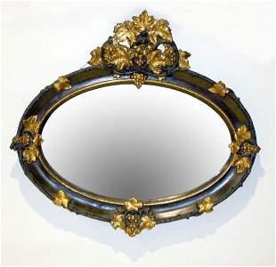 Victorian Rococo Oval Over Mantle Mirror