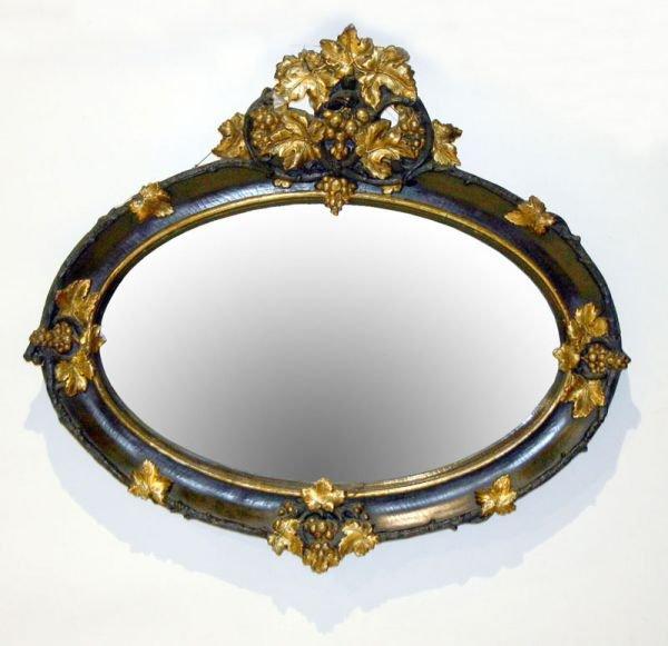 1016: Victorian Rococo Oval Over Mantle Mirror