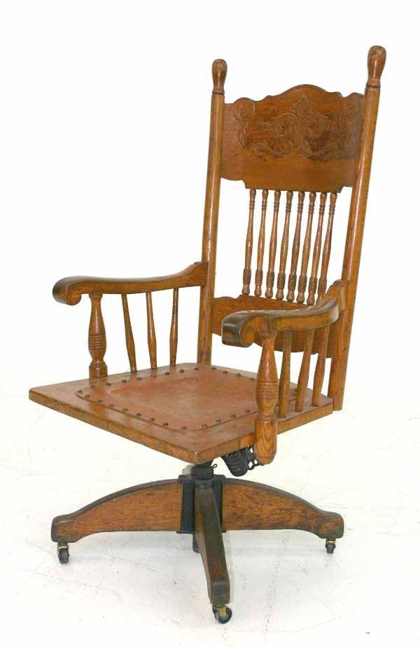 10: Carved Oak Desk Chair c 1900