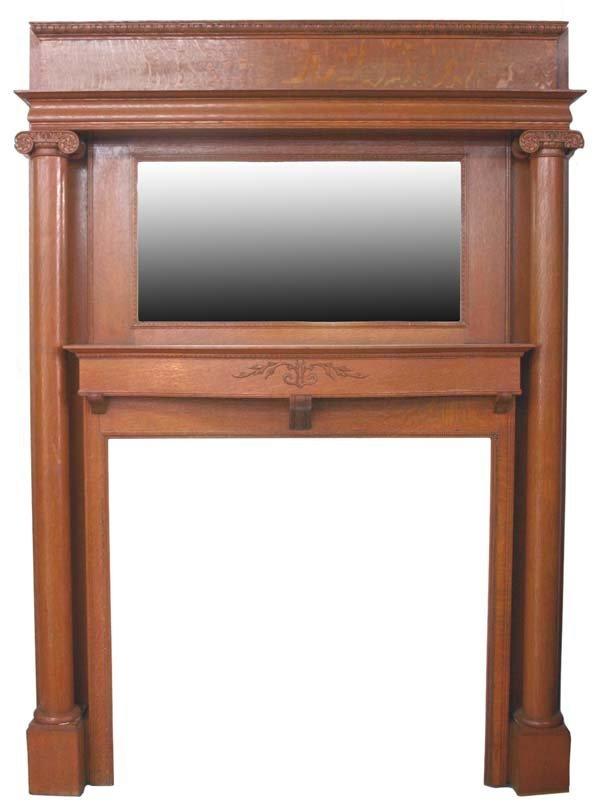 11: Oak Mirrored Fireplace Surround