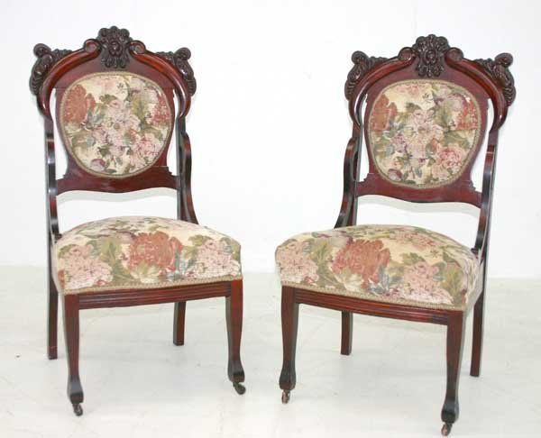 15: Pair Late Victorian Mahogany Carved Parlor Chairs