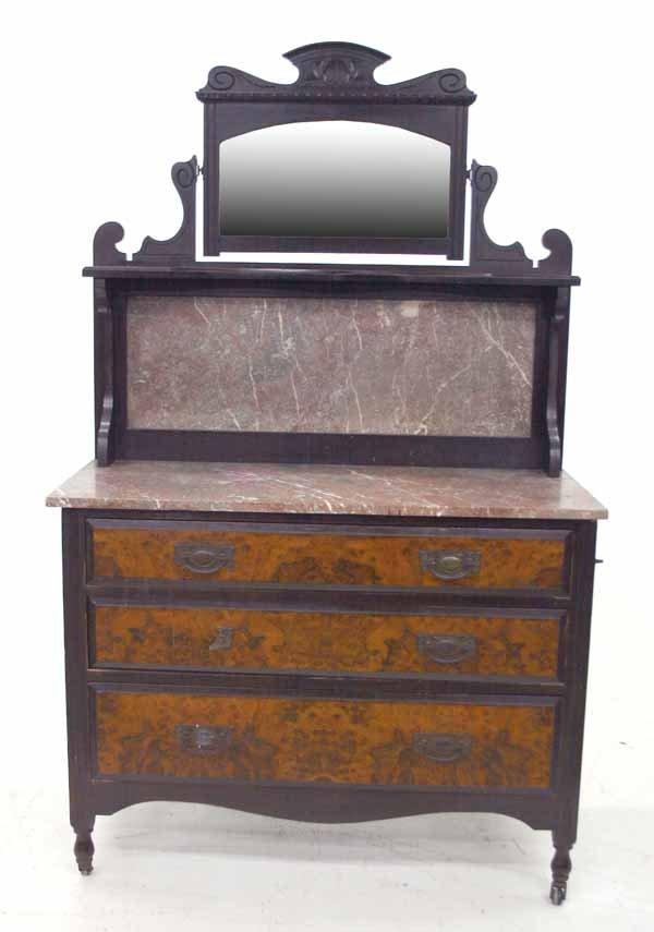 19: Edwardian Burl Walnut Marble Top Washstand. c 1880