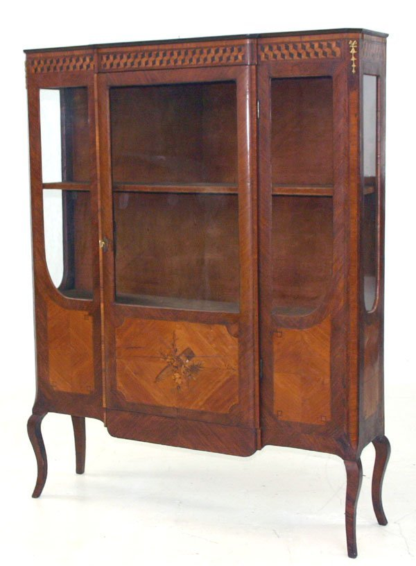 22: French Inlaid Curio Cabinet c 1870