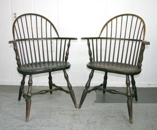 237: Pair Antique Windsor Chair Marked Paine Furniture