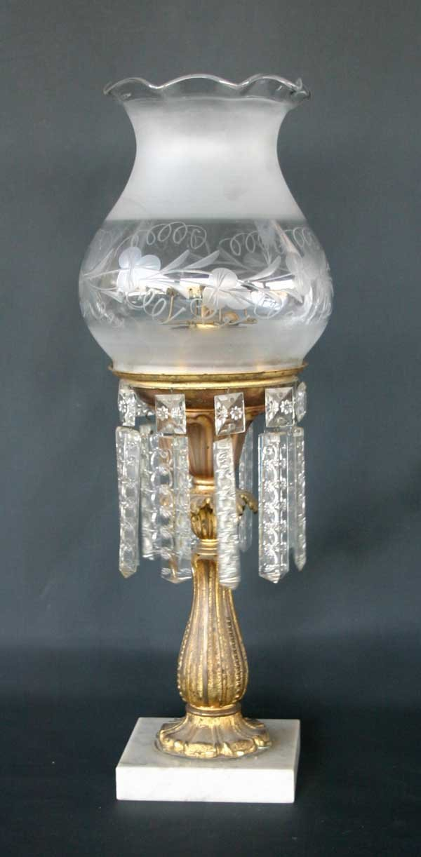 1: Victorian Astral Lamp With Cut Glass Shade