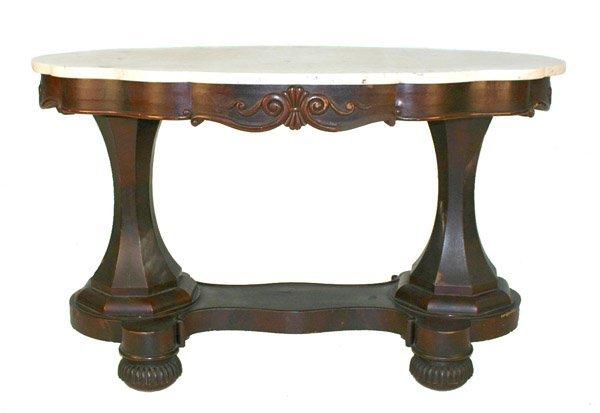 7: American Mahogany Empire Library Table Attr. Meeks