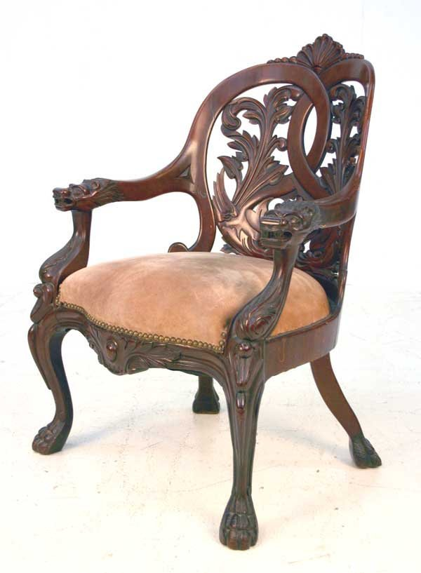 9: American Victorian Mahogany Carved Armchair