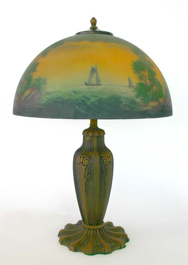 12: Pittsburg Reverse And Obverse Painted Lamp