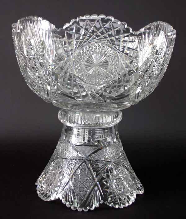 16: Brilliant Period Cut Glass Punch Bowl. Circa 1900