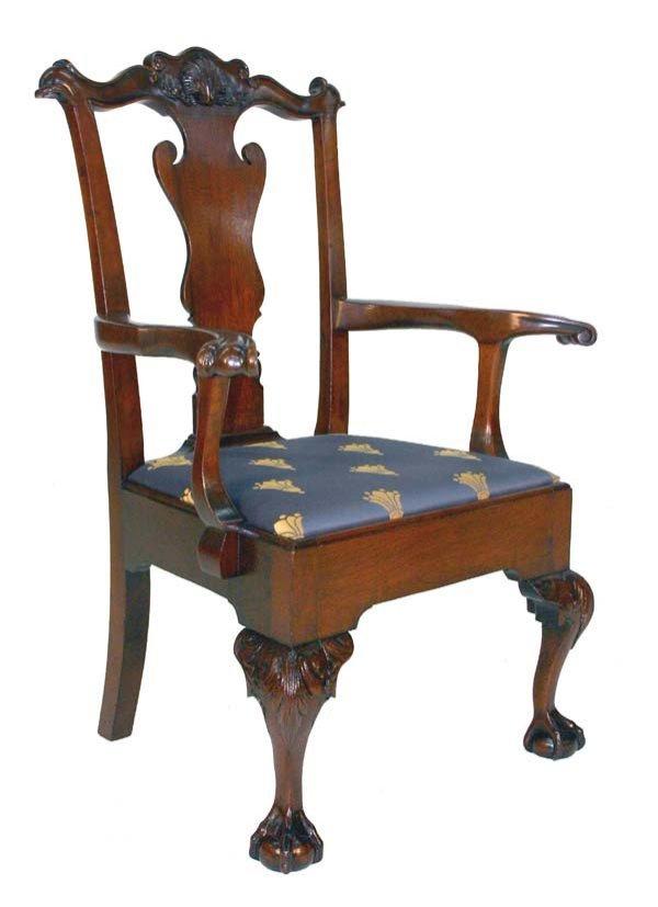 18: American Walnut Chippendale Armchair. Circa 1870