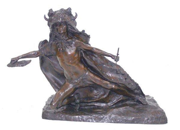 21: Sioux Indian Buffalo Dancer Bronze Sculpture