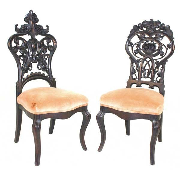 23: Pair Victorian Rococo Carved Parlor Chairs. Circa 1