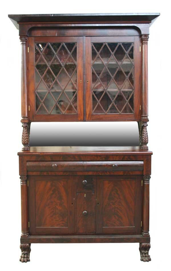 24: American Classical Empire Mahogany Tall Sideboard