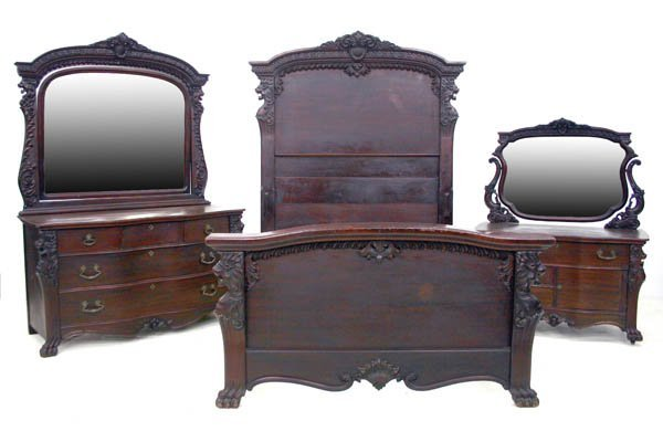 160: Mahogany Griffin Carved Bedroom Set Attr RJ Horner