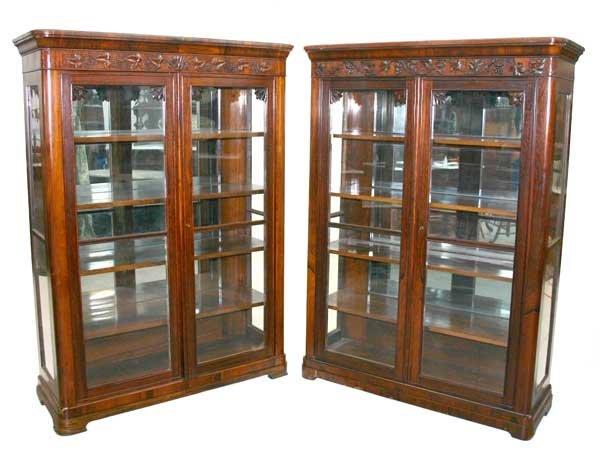 189: Pair Rosewood Victorian Bookcases Attr. Meeks