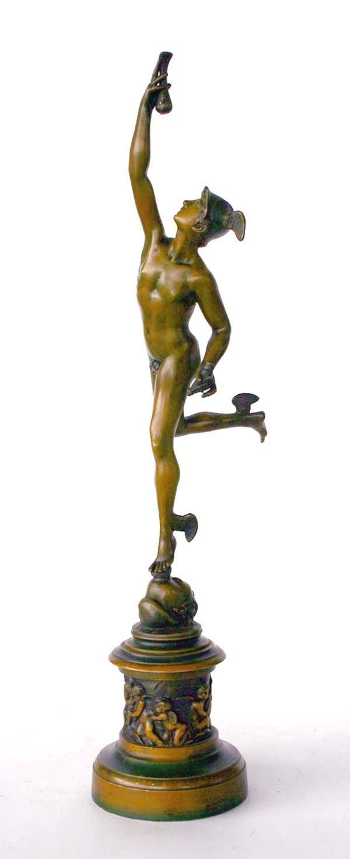 1: Early 20th C Metal Sculpture of Mercury