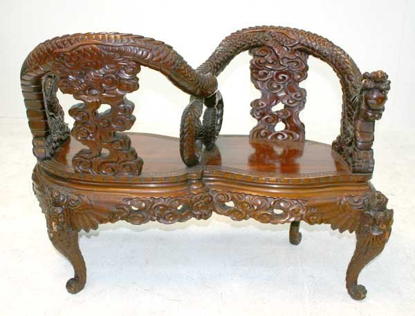 2: 19th C Carved Chinese Teakwood Tete-a-Tete