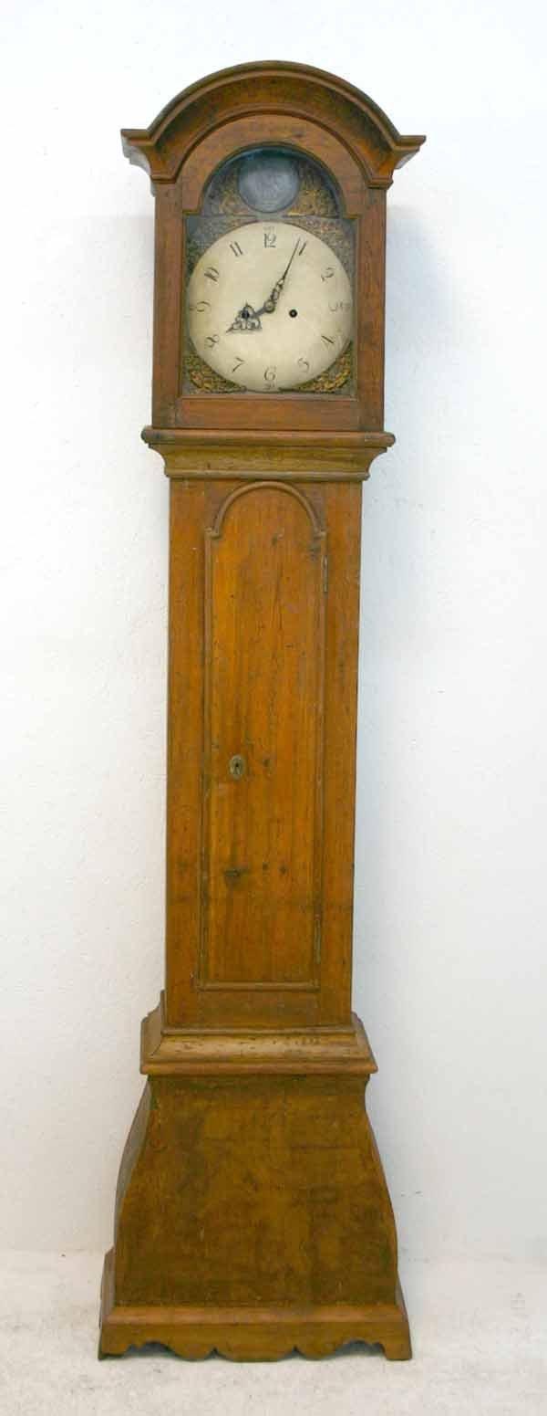 6: 18th C Dutch Pine Dome Top Tall Case Clock