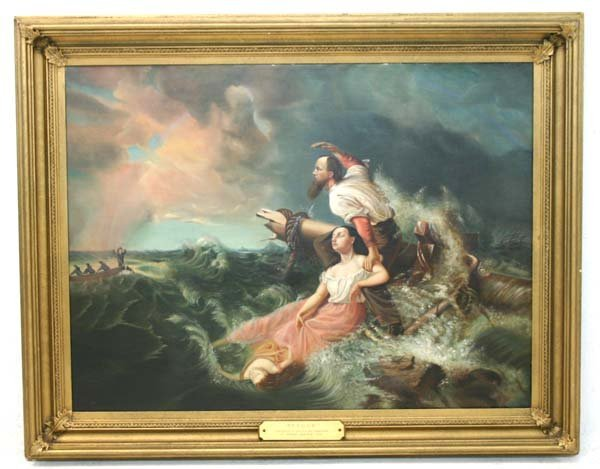 """9: American Oil on Canvas Painting Titled """"Rescue"""""""