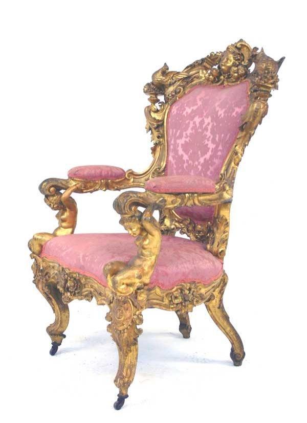 14: 19th C Italian Gilded Louis XV Style Armchair