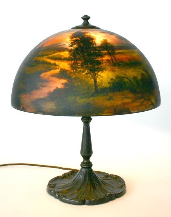 21: RARE – Bulova Reverse Painted Lamp. Circa 1920–1930
