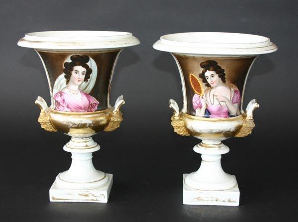 """1: Pair 19th C Old Paris Portrait Vases. 11""""h"""