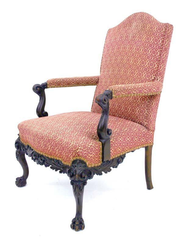 2: 19th C Carved Irish Chippendale Open Armchair