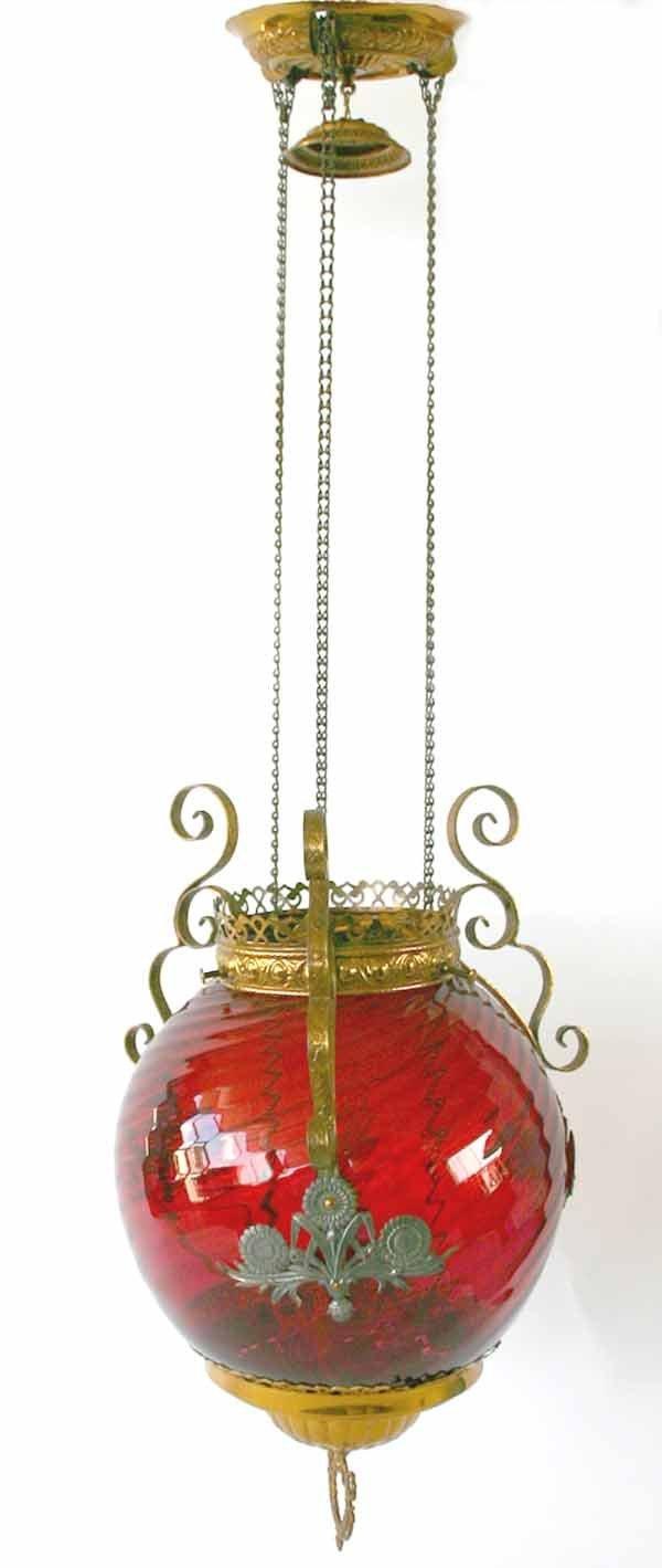 5: Victorian Brass & Ruby Glass Hanging Light Fixture/H