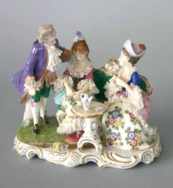 8: Dresden Style Porcelain Figural Group. Good conditio