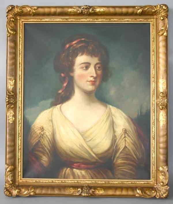 11: 19th C Oil on Canvas Portrait Painting of Lady