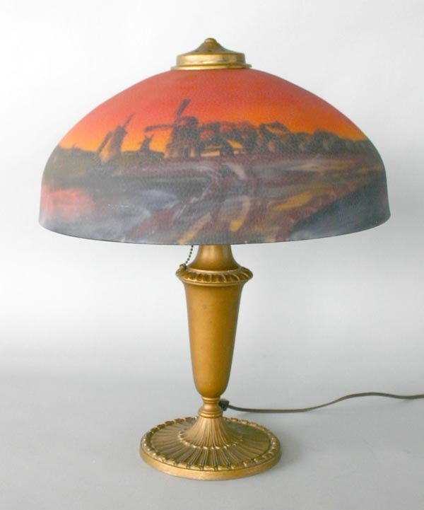 13: Pittsburg Reverse Painted Lamp with Wind Mill Scene