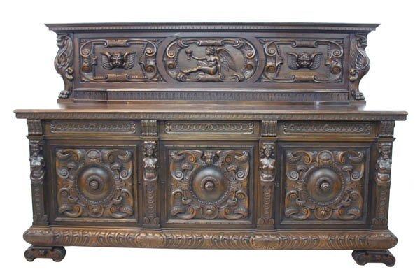14: Italian Barouque Carved Walnut Sideboard
