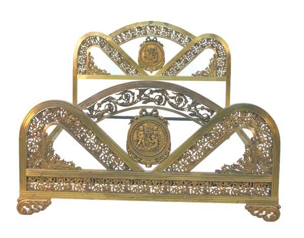 21: French Art Nouveau Brass Bed with Bronze Cherub Med
