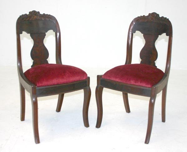 22: Pair American Mahogany Classical Empire Side Chairs