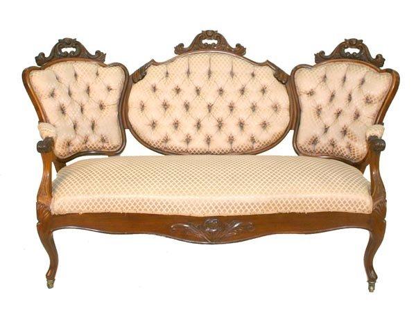23: American Rosewood Triple Back Victorian Sofa