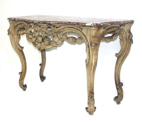 137: 18th C. Louis XV Painted Console. Shaped rouge roy