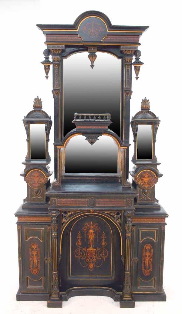 170: American Renaissance Revival Inlaid Credenza. Ebon