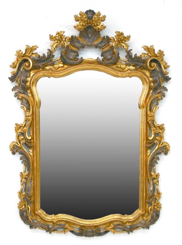 1: Decorative French Rococo Wood Carved Mirror