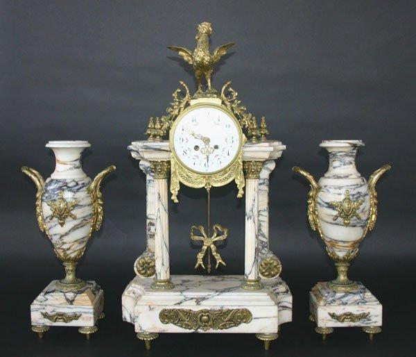 4: Antique French Empire Marble & Bronze Clock Set
